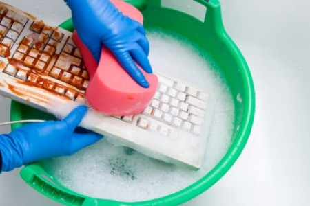 Cleaning a Computer Keyboard, Washing Ketchup Off Keyboard with Soap and Water in Bucket