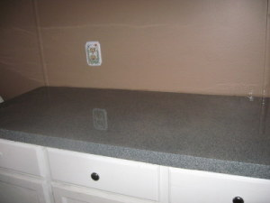 Faux granite countertops.