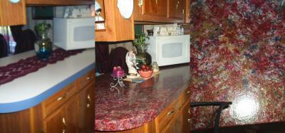 Before and after photos of a painted countertop.