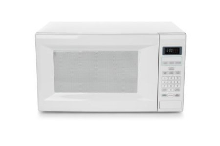 Photo of a white microwave oven.