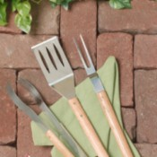 BBQ Tools on Brick Patio