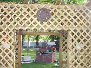 Photo of a garden trellis.