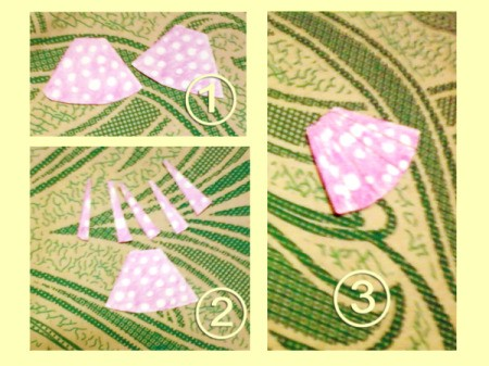 Three images of the pink skirt making step of the sister card