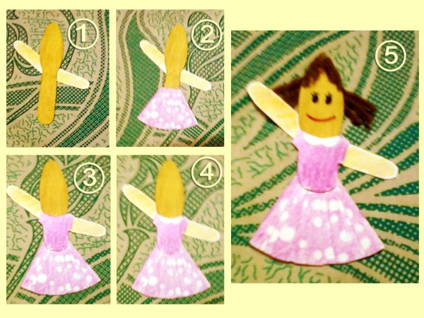 popsicle stick doll making steps of sister card