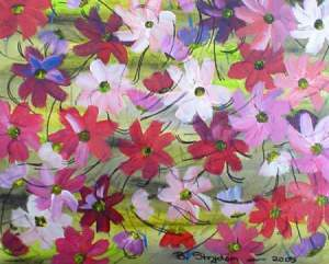 paper with colorful cosmos all over it, green background, white, pink, red, purple flowers