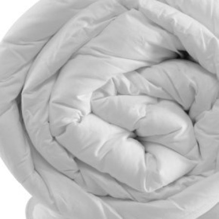 End view of rolled comforter.