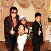 Elvis with Bride and Groom All Giving Thumbs Up
