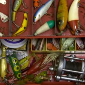 Lures and Bobbers in a Tackle Box