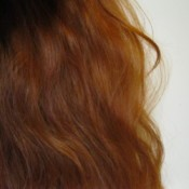 Long red hair on back of head