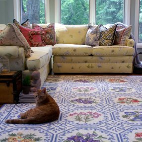 Cat lying on a throw rug in the livingroom.