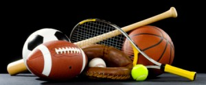 A variety of sports equipment
