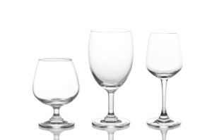 Row of Wine Glasses on White Background