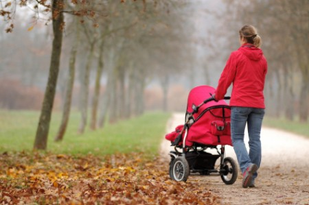 Losing Weight After Having a Baby, Woman in Red Coat Walking Her Baby Stroller in the Park