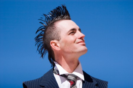 Man With Spiked Mohawk in a Suit and Tie