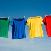Primary Colored Shirts on Clothesline