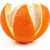 An orange being peeled.