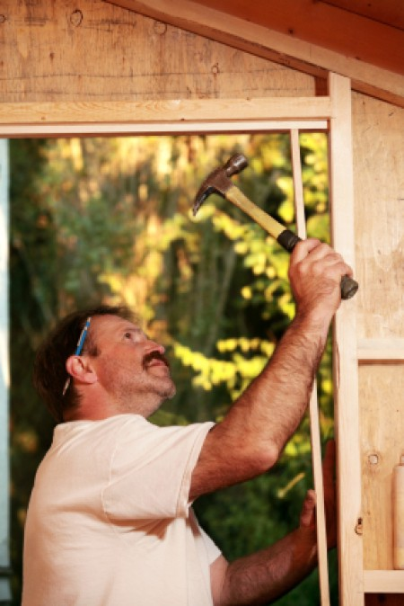 Carpenter Building a Shed