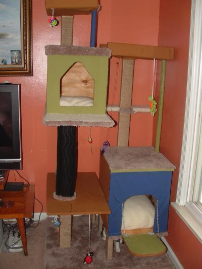 Photo of a huge homemade cat tree.