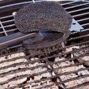 Brush cleaning charcoal grill