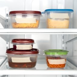 Leftover food in containers in the fridge.