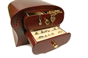 Jewelry Box with Jewelry Spilling Out