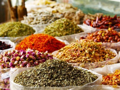 Many Bags of Colorful Dried Spices