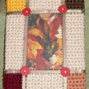 crochet frame in fall colors