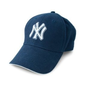 New York Yankees cap on white background.