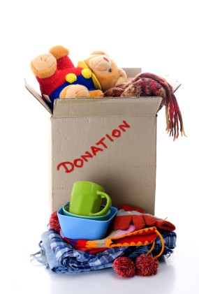 A box of donated household goods.