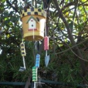 Painted Planter Windchime Hanging in Tree