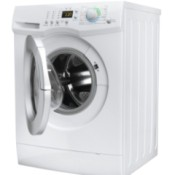 A front loading washing machine with the door open.