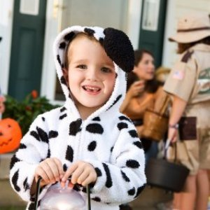 Child in Dalmation costume trick or treating.
