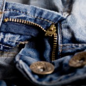 A zipper on a pair of jeans.
