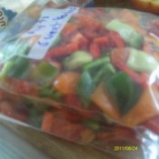 A bag of frozen peppers.