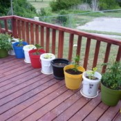 Row of Containers for Plants on Deck