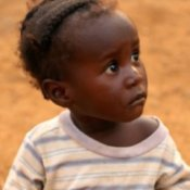 African baby in a t-shirt.