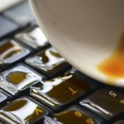 Avoiding Keyboard Spills, Coffee spill on a computer keyboard.