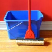 Mop and bucket leaning up against a red wall.