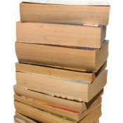 Stack of paperback books.