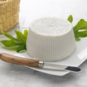 Ricotta cheese on fig leaves on white plate, with cheese knife.