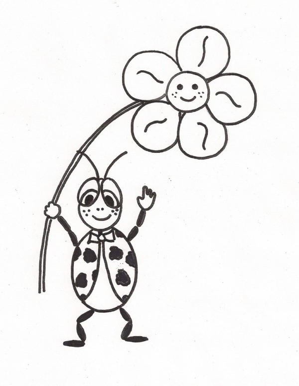 Black line drawing of a smiling ladybug standing holding a smiling flower
