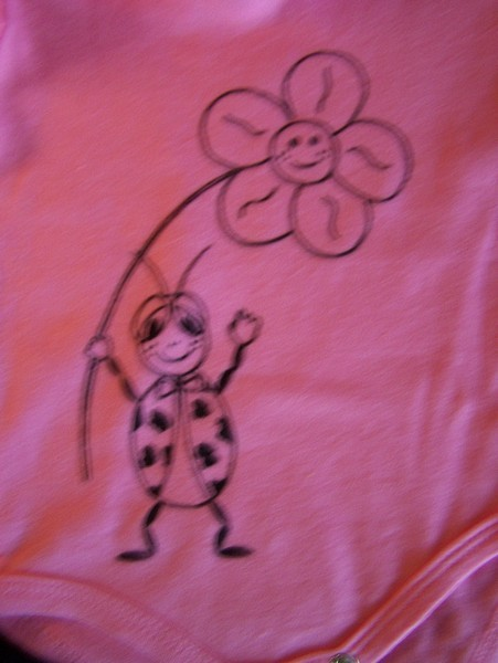 ladybug and flower outline drawn onto pink baby-grow