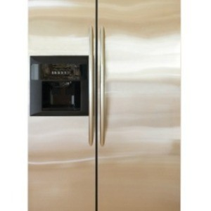 Saving Money on a Refrigerator, A new side by side refrigerator and freezer in stainless steel.