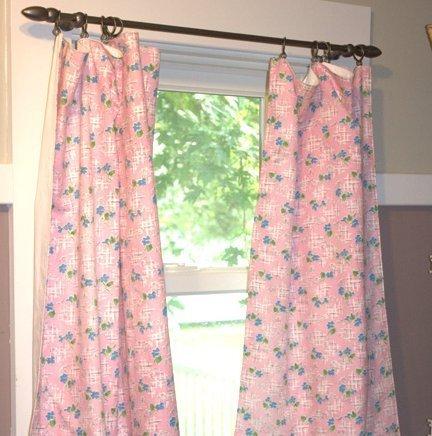 Photo of homemade pink curtains.