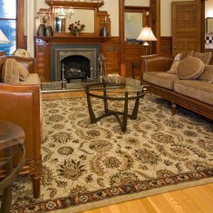 Decorating with Area Rugs, Cleaning a Wool Area Rug, Wool area rug on a living room floor.