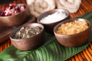 Salt and Herbs in Wooden Bowls