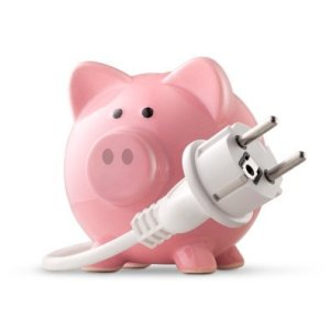 Simple Things We Can Do To Save Energy, Piggy Bank and Electric cord