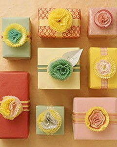 Photo of paper flowers made with cupcakes.