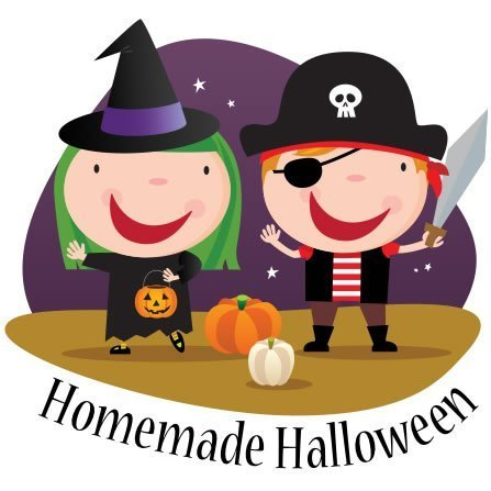 Illustration of two kids in costumes.  A witch and a pirate.
