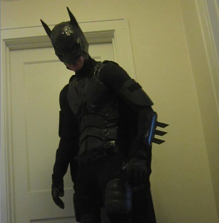 Photo of a homemade batman costume.
